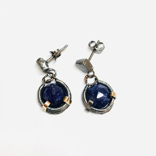 Rough Sapphire Drop Earrings by Natalie Salisbury