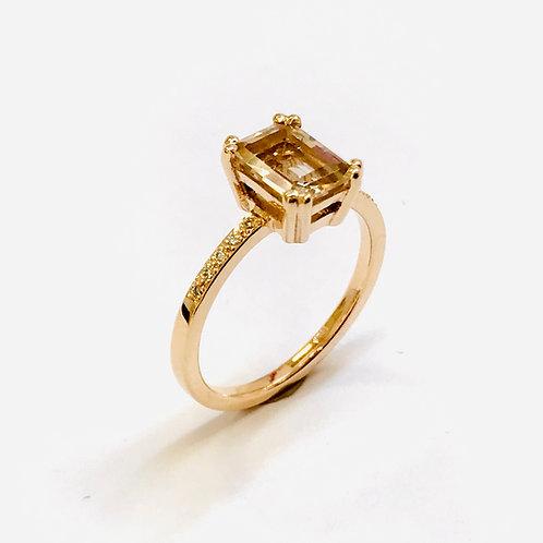 Natural Topaz Diamond Ring