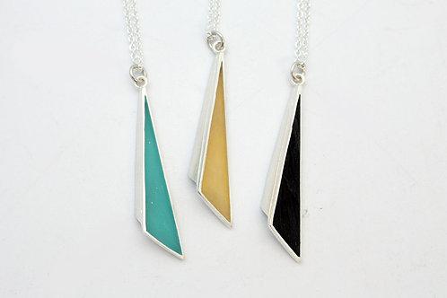 Black Folded long Triangle Pendant by KMD