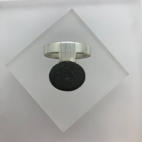Pebble Offset Silver Ring by Maike Barteldres