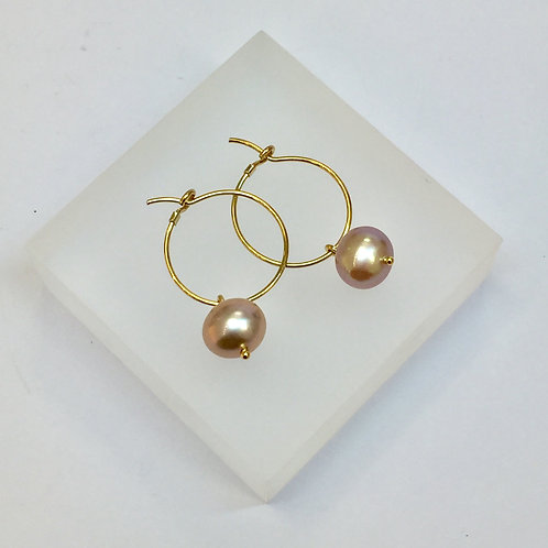 Pink Pearl Hoop Earrings by Kiri Schumacher