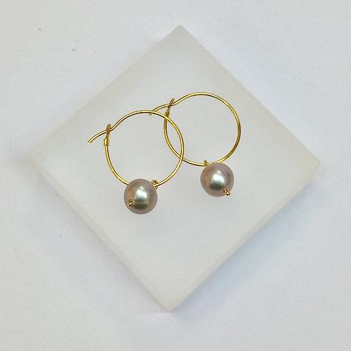 Grey Pearl Hoop Earrings by Kiri Schumacher