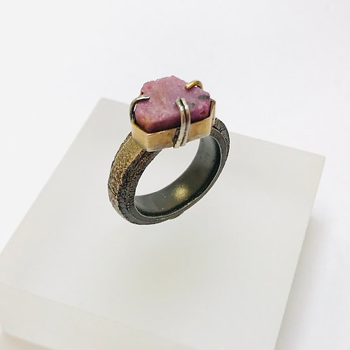 Raw Ruby Geometric Solitaire Ring by Natalie Salisbury