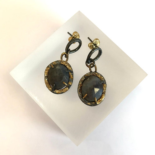 Grey Blue Sapphire Drop Earrings by Natalie Salisbury