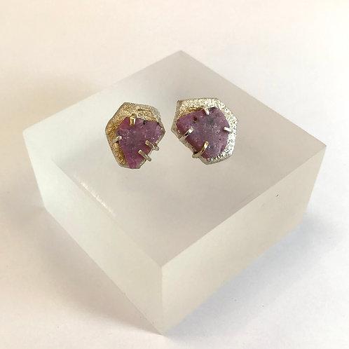Raw Ruby Stud Earrings by Natalie Salisbury