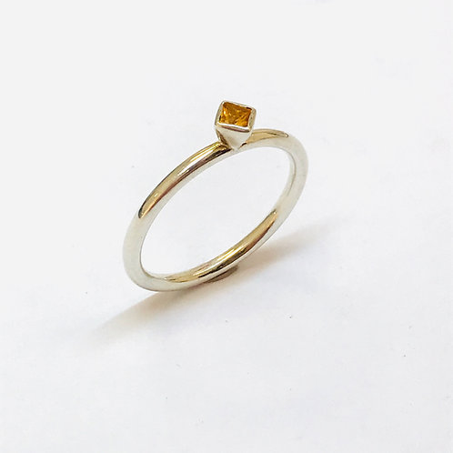 Mini square citrine Stacker Ring