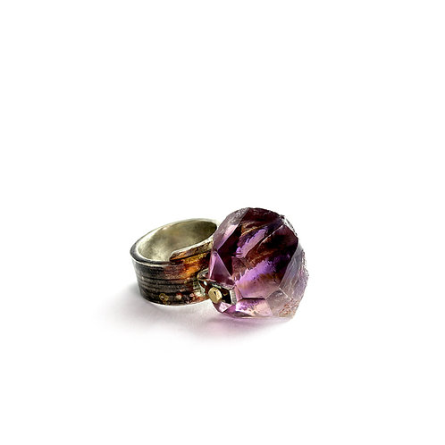 Amethyst Silver Brass Ring by Neil Adcock