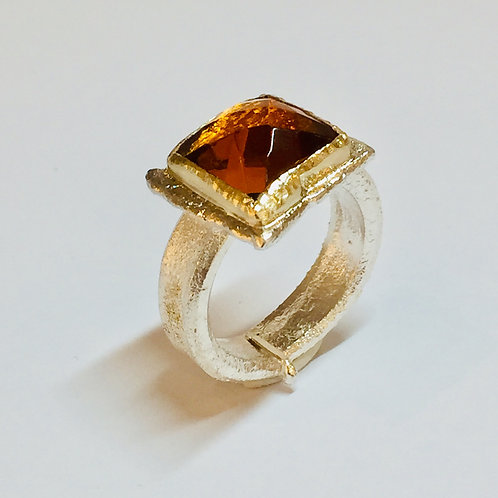 Square Citrine Ring by Natalie Salisbury