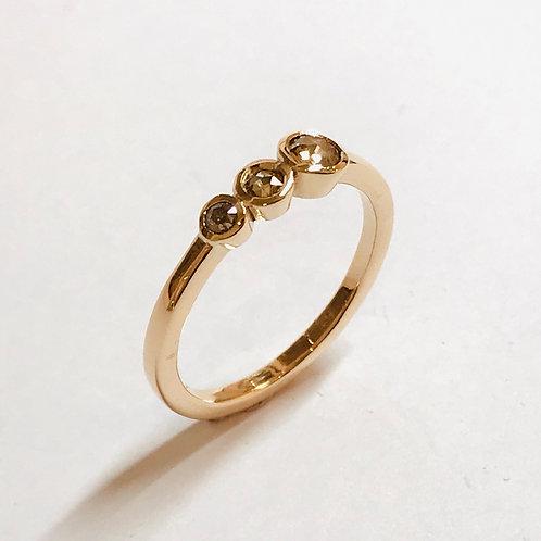 Luna Champagne Diamond 3 Stone Ring