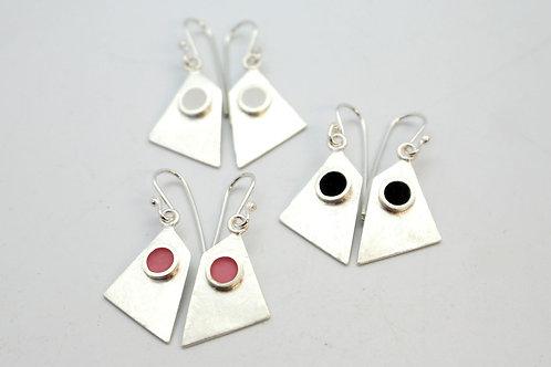White Silver Round Flat Earrings by Koji Miyazaki