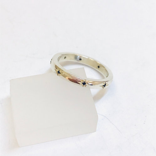 Silver Sapphire 8 Stone Ring by Zoe Porter