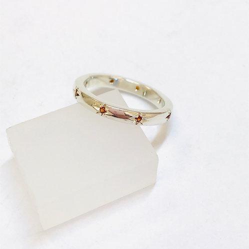 Silver Garnet 8 Stone Ring by Zoe Porter