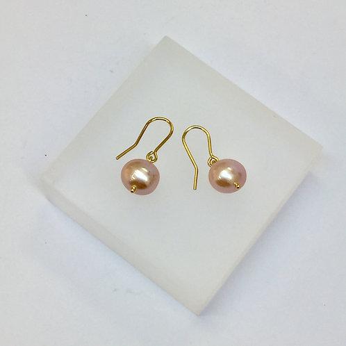 Pink Pearl Hook Earrings by Kiri Schumacher