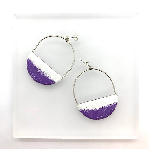 Dusk hoops - white/ mauve earrings
