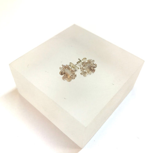 Briar Double Flower Silver Earrings by Natalie Salisbury