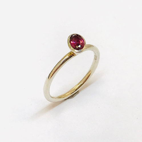 Oval tourmaline Stacker Ring