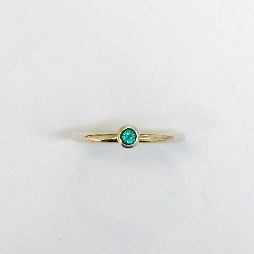Mini round emerald stacker ring