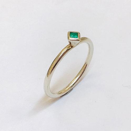Mini square emerald stacker ring