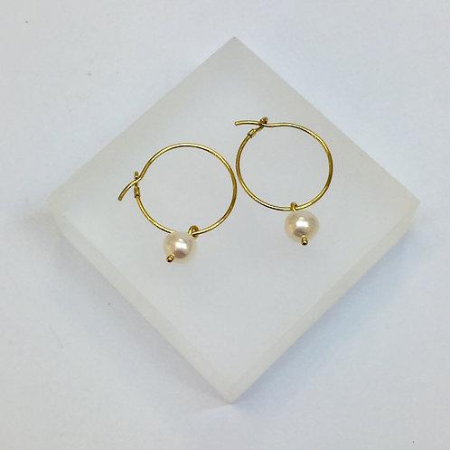 White Pearl Hoop Earrings by Kiri Schumacher