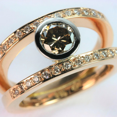 Cognac diamond rose gold Ring