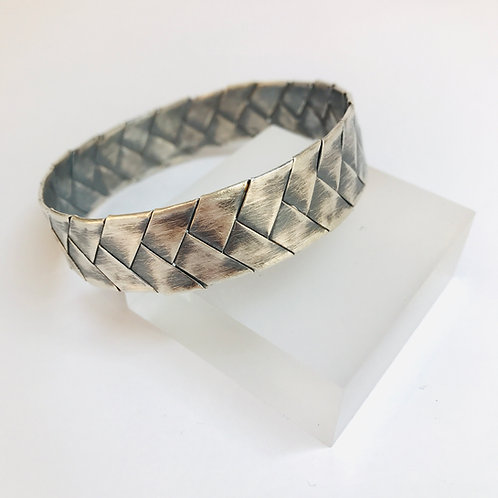 Oxidised Silver Plait Bangle by Phillipa Gee