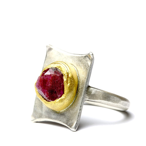 Uncut Ruby 24 Carat Gold Silver Ring by Neil Adcock
