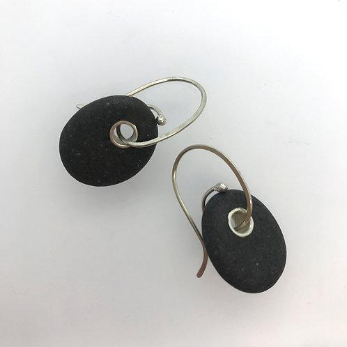 Large Black pebble- earrings