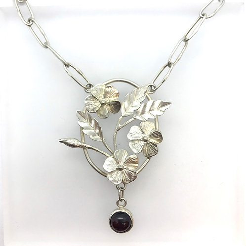 Wild Rose Silver Necklace With Garnets
