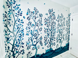 Deluxe Soft Blue Orange Tree Panel A alternated with Deluxe Soft Blue Lemon Tree Panel B