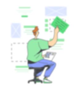Illustration of an Interaction Designer, showing a male designer arranging information on a website