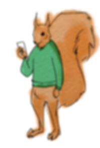 An illustration of a squirrel wearing a green sweater looking at a smartphone