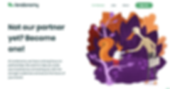 A screenshot of the Lendonomy website showing a colorful illustration of a squirrel and a stork shaking hands in front of a background with purple and orange leaves