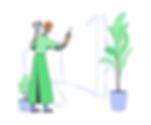 Visual Designer illustration showing a woman designing a megaphone