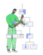 Illustration of an Information Architect, showing a man creating a hierarchy of importance for a web design layout