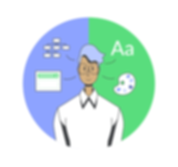 Illustration of a UI/UX Designer showing a person with two sets of different design skills