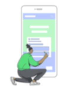 Illustration of a UI Designer creating a web design layout for a smartphone
