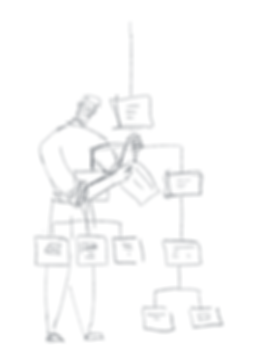 Sketch of a male Information Architect standing next to a visual hierarchy