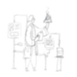 Sketch of a female UX researcher holding up a test tube