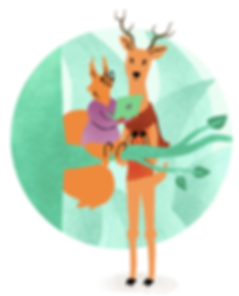 An illustration of a squirrel sitting in a tree looking at a laptop with a deer in front of a green forest background