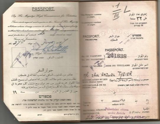 """דרכון של פלסטינה א""""י של אביו של אורי טיגר"""