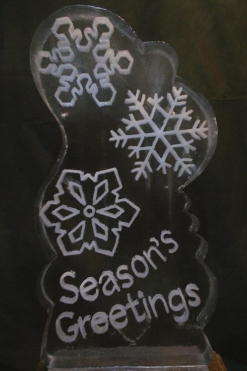 Trio of snowflake with seasons greetings