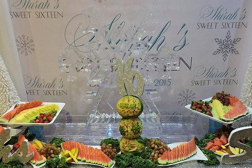 Sweet Sixteen Winter Wonderland Snowflake Ice and Fruit Display