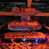 Three tier ice sculpture seafood display
