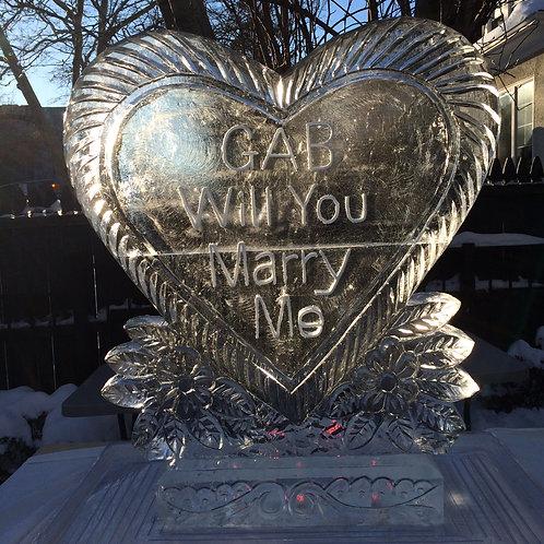 Single heart ice sculpture