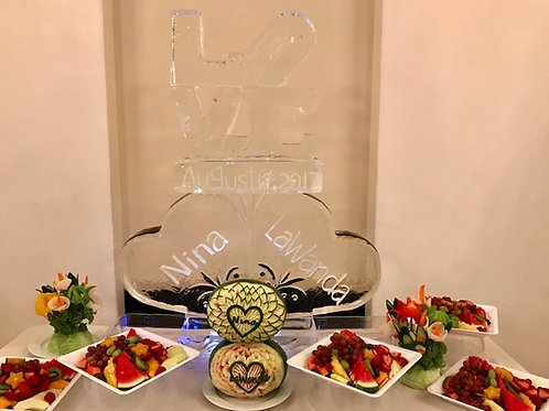 LOVE with date, hearts, names, vegetable flowers and fruit display