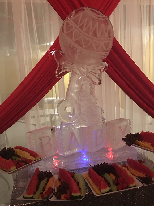 Rattle ice sculpture with BABY and assorted fruit platters