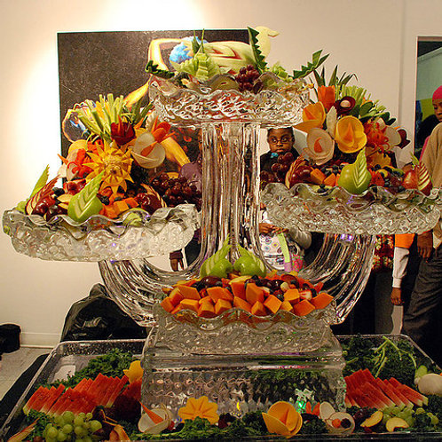 Four Tier Ice Platters with Assorted Fruits and Vegetable Carving