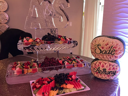 Two Tier Ice Platters with Wedding Initials and Fruit Displays