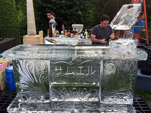 6ft. ice bar with Japanese Inscriptions and small luge on top