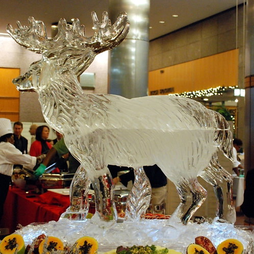 Standing reindeer made from two blocks of ice
